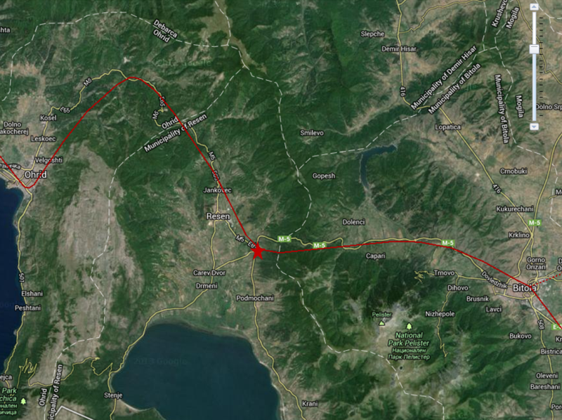 Виа Егнација - рута Лихнид-Хераклеја (приближно) и веројатната местоположба на Скиртијана (обележано со звезда)